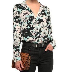 Equipment femme floral silk blouse button shirt m